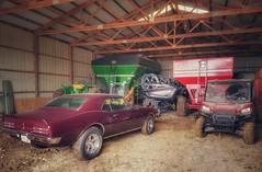 tools for the successful farmer... (BillsExplorations) Tags: farming shed farmmachinery johndeere tractor firebird car restored atv tools success wagon