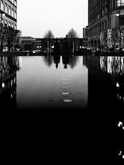 Duo (Sean Batten) Tags: london england unitedkingdom canarywharf eastlondon docklands blackandwhite bw city urban nikon d800 2470 reflection