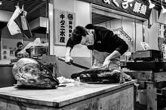 The Tuna Butcher (MartinG605) Tags: travel fish japan tokyo streetphotography vistajet tsukijifishmarketmarket blackandwhite art person market butcher
