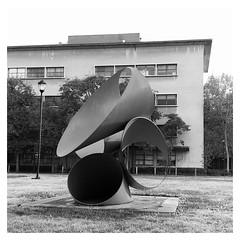 """Within"", by Alexander Liberman. (Melinda * Young) Tags: monochrome thursday blackandwhite sculpture liberman science within tubular steel art berkeley"