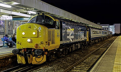 37418 2R24 17:46 Cardiff Central to Rhymney (Dean20304) Tags: 2r24 queen class 37 transport for wales rhymney cardiff street central 2r20 colas rail freight 37418 37421 riviera trains