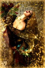 All That Glitters (Water to My Soul) Tags: colby files christmas model glitter gold sparkle sequins holly pine cone ribbon bow ornaments drips sensual romantic
