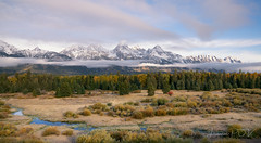quietude (laura's Point of View) Tags: autumn fall october gold golden mountains tetons grandtetonnationalpark nationalpark wyoming jacksonhole unitedstates west western peaceful calm morning dawn blacktailponds river creek stream forest valley clouds sky snowcappedmountains beautiful lauraspointofview