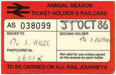 Annual Season Ticket Holder's Railcard (R~P~M) Tags: train railway ticket railcard britishrail holbornviaduct london england uk unitedkingdom greatbritain