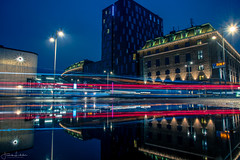 Fast and Furious 3 (Fredrik Lindedal) Tags: longexposure puddle puddlegram reflection reflections hotel light lindedal sweden sverige time clock gothenburg göteborg
