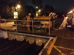 Ickenham SFA piling rig across bridge (Funny Cyclist) Tags: ickenham station tube underground london rail train