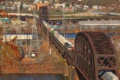 The OC Bridges (GLC 392) Tags: 9477 ns ge d940cw c409w norfolk southern oc bridge bridges train railroad railway contrainers ohio river brunot island sheraden pittsburgh pa pennsylvania mon line