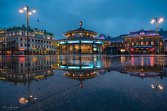 Queensquare Gothenburg in Reflection (Fredrik Lindedal) Tags: city cityscape cityview clouds hotel centralstation station reflection reflections gothenburg göteborg pov puddle puddlegram streetview street streetvision streetlight citylife sweden sverige lindedal lights