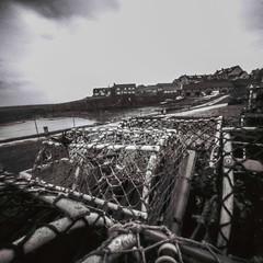 Craster Lobster Pots (John Ash Photography) Tags: pinhole square black whiteblack white film ilford pan f panf zeroimage