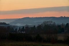 The Evening Hills (Deepgreen2009) Tags: ranmore surrey hills dorking sunset mist church spire evening