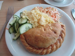 Buckfast Abbey Pasty and Salad (Bridgemarker Tim) Tags: pasty salad buckfastabbey food