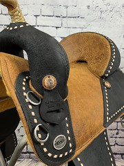 11247 (sportssaddlesalem) Tags: black roughout ro rough out country crackle sewn thread 19 bh braided horn 6cantlercrearcinchrc12 fenders natural buckstitch bs
