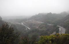 Farther up (LeftCoastKenny) Tags: losgatoscreektrail stjosephshill hills highway traffic dam spillway fog clouds trees