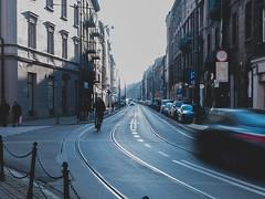 Długa Street (Konrad Niechwiej) Tags: street traffic cyclist city town cracow krakow lesser poland