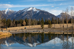 Quarry Lake (Diggerthedog99) Tags: fall canadian alberta canon trees reflection lake mountains
