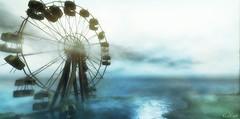 Washed Out (Loegan Magic) Tags: vintage ride sky water ocean ferriswheel landscape secondlife