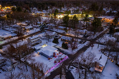 Christmas Lights (Seth J Dewey Photo) Tags: december massachusetts mavic2pro sethjdeweyphotography tewksbury aerial drone evening snow twilight winter