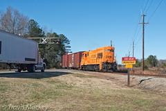 PICK Belton job shoving out of the GRLW Yard (Travis Mackey Photography) Tags: pick beltonjob grlw yard belton sc truck train railroad locomotive road trees grass sky
