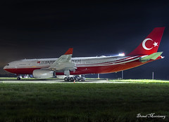 Turkish Government A330-200 TC-TUR. (birrlad) Tags: stansted stn airport london uk aircraft aviation airplane airplanes airbus a330 a332 a330200 a330243 turkish government tctur vip nato summit meeting night photography parked apron ramp
