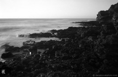 Pinhole photography: Maha'ulepu Lava (ZER_0024) (masinka) Tags: etbtsy pinhole lensless photography film analog blackandwhite bw monochrome hawaii kauai island paradise coast coastline pacific longexposure travel outdoors lava rugged zeroimage 35mm ilford panf 50 earth