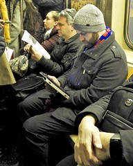 DSCN8072 (danimaniacs) Tags: newyork man guy hot sexy beard scruff subway hat cap cellphone