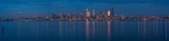 Seattle Blue Skyline from Alki (www.mikereidphotography.com) Tags: seattle skyline reflection gfx50s zeiss 135mm panorama blue