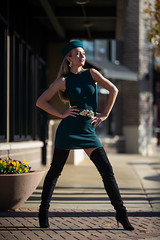 Olga - Here Comes the Boom (jfinite) Tags: copyright2019byjustinbonaparteallrightsreserved model beauty fashion environmentalportraiture retail commercial boots dress hat legs blonde fallfashion autumn