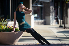 Olga - Launch Platform (jfinite) Tags: copyright2019byjustinbonaparteallrightsreserved model beauty fashion environmentalportraiture retail commercial boots dress hat legs blonde fallfashion autumn