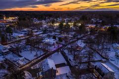 TewksEvening120519-56-HDR (Seth J Dewey Photo) Tags: december massachusetts mavic2pro sethjdeweyphotography tewksbury aerial drone evening snow twilight winter