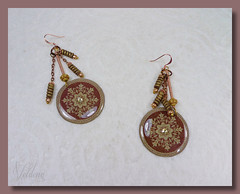 Brown Mandala 6 - Dangle Hook Earrings (SomewhatOdd) Tags: polymerclay earrings mixedmedia ethnic resin