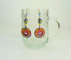 Blue Sunset 3 - Dangle Hook Earrings - 2007 (SomewhatOdd) Tags: polymerclay earrings mixedmedia ethnic resin