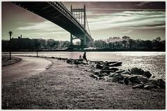 I named this one,  The Urban Fisherman... I hope some of you like it... (cesar.toribio1218) Tags: newyork bridge bridges bytheriver urbanphotography urban