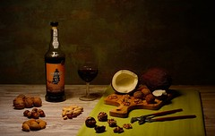 Dry fruits and an old tawny Porto Sandeman (Ferreira Nuno) Tags: stilllifephotography stilllife old tawny porto oldtawnyporto portowine dryfruits wallnuts coconuts peanuts almonds hazelnuts