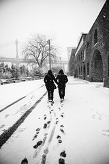 A Dream of You And Me (Airicsson) Tags: snow street urban nyc newyork city white winter cold snowstorm america usa cityscape storm couple umbrella steps foot dumbo brooklyn bridge park love