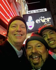 IMG_E5566 (danimaniacs) Tags: newyork man guy beard scruff colorful smile hat cap broadway theater thechershow friends