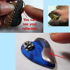 Seeing Your Reflection (SomewhatOdd) Tags: resin tutorial mixedmedia polymerclay polyclay premo fimo technique gold sculpey silver howto instructions clay liquidclay teach learn uvresin ultraviolet sun swarovskicrystals project projects metallic metal resincrafts polymerclaytutorial