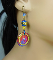 Blue Sunset - Dangle Hook Earrings - 2007 (SomewhatOdd) Tags: polymerclay earrings mixedmedia ethnic resin