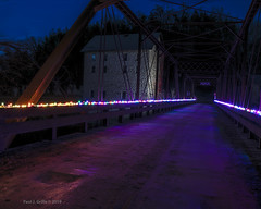 Motor Mill Bridge with Festive Lights (Bridge  Perspective) (jackalope22) Tags: motor mill christmas lights long exposure le night elkader