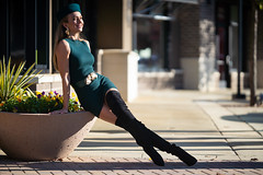 Olga - Switchblade (jfinite) Tags: copyright2019byjustinbonaparteallrightsreserved model beauty fashion environmentalportraiture retail commercial boots dress hat legs blonde fallfashion autumn
