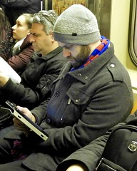 DSCN8073 (danimaniacs) Tags: newyork man guy hot sexy beard scruff subway hat cap cellphone
