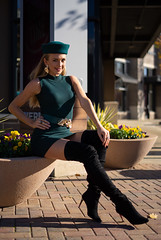 Olga - Gift Wrapped (jfinite) Tags: copyright2019byjustinbonaparteallrightsreserved model beauty fashion commercial retail boots hat dress blonde fallseason autumn