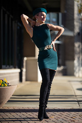 Olga - The Hours (jfinite) Tags: copyright2019byjustinbonaparteallrightsreserved model beauty fashion environmentalportraiture retail commercial boots dress hat legs blonde fallfashion autumn