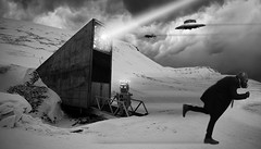 The North Pole will be mine! (Naurea.Monster) Tags: svalbard bunker ice snow blackandwhite gaskmask film horror newalbum robots ufo norway onemanband electro industrial dark rock cuba embrach zurich switzerland