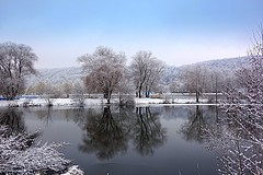 winter mirroring (majka44) Tags: winter tree nature december 2019 reflection mirror slovakia košice lake water light blue forest sky snow frozen building landscape