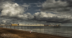 Lets leave before the storm (Through-my-eyes.) Tags: paigntonpier pier paignton clouds cloud storm structure people sand beach southcoast seascape reflection sea ocean water stormclouds