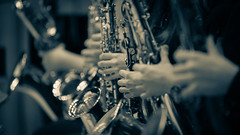 a short story about jazz (ignacy50.pl) Tags: concert music band saxophone people instruments musicians stage closeup monochrome