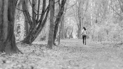 running (frax[be]) Tags: streetphotography wood forest atmosphere autumn fuji 90mm outdoor noiretblanc monochrome dof grain blackandwhite bnw bw