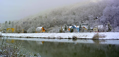 winter lazy river and some colors (Slávka K) Tags: river colors houses snow sleep country landscape view 2019 fog natur water slovakia košice december trees moretrees forest mirror reflection nopeople frozen day