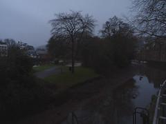 Moody morning (Phil Gayton) Tags: water grass tree sky cloud drizzle rain dull mill tail vire island river dart totnes devon uk