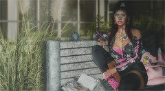 The Weekend (tarja.haven) Tags: adorsy sirengraph diversion kiratattoo jackettop shorts booties ankleboots legwarmers hair meshhair tattoo pose bentopose cosmopolitanevent vanityevent belleevent photography photo pixelart tarjahaven event avatar sl secondlife digitalart fashion virtual